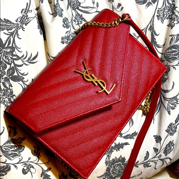 🍓SOLD🍓YSL wallet on chains red w gold hardware